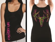 New Country Life Outfitters Black & Pink Camo Deer Skull Head Tank Top