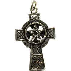 """This necklace displays a beautiful Celtic Cross, decorated with Celtic knotwork, overlaid by an interwoven pentagram. Has cord. 1 1/4"""" x 3/4"""""""