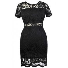 Peekaboo Crochet Lace Sheath Dress in Black- Plus Size ($40) ❤ liked on Polyvore featuring dresses, black, lace dress, pencil dress, plus size day dresses, women's plus size dresses and womens plus dresses