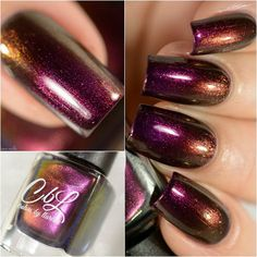 December 2016 PotM - Due to the Llarowe site being offline for the month of November, we are previewing the December PotM now. Fool's Gold is a reddened purple multichrome that shifts from burgundy to green to gold with red to gold to green shimmer. More swatches on the site. Link to the product listings in the bio. Photos courtesy of de.lish.ious.nails.