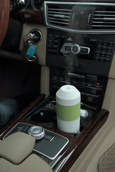 Tour Travel Car Diffuser in White & Olive. With wall and car adapter. Small, Portable, Awesome.