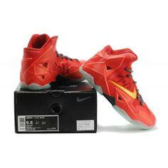 Authentic Nike Lebron 11 P.S. Elite 616175 001 Total Crimson Yellow