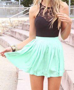 Sky Blue and Black Lace Mini Dress ..... LOVE