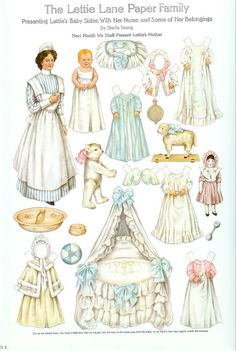 The Lettie Lane Paper Family: Presenting Lettie's Baby Sister with her Nurse paper doll 1909 Artist : Sheila Young. Amazing paper doll for ages years old. Art Origami, Paper Art, Paper Crafts, Foam Crafts, Images Vintage, Paper Dolls Printable, Bobe, Moda Vintage, Paper Embroidery