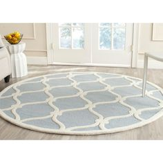 Safavieh Handmade Moroccan Cambridge Blue/ Ivory Wool Rug (6' Round) - Overstock™ Shopping - Great Deals on Safavieh Round/Oval/Square