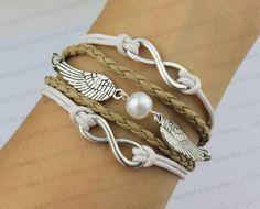 The ancient silver infinity bracelet pearl wings by lovelybracelet, $4.99