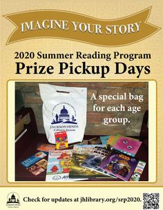 SUMMER READING PROGRAM UPDATE: Our first Prize Pickup day is this Saturday, July 25! Registrants may come to Eudora Welty Library (Jackson patrons) or Quisenberry Library of Clinton (Hinds County patrons) on tomorrow or August 1 to pick up your goodie bags via curbside. Just call when you arrive, and a staff member will look up your account in READsquared and bring your goodie bag to your vehicle. Thanks for participating! #SRP2020 #ImagineYourStory
