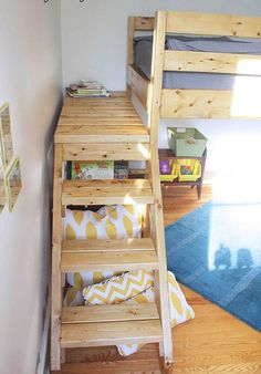 Custom Made All Size Angled Stairs For A Twin Size Bed