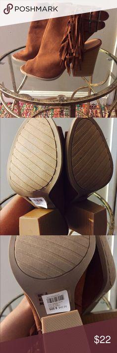 NWT Charlotte Russe Cognac Fringe Open Toe Booties NWT! Charlotte Russe Shoes Ankle Boots & Booties