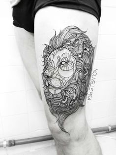 Rita Nouvelle tattoo artist, black and white lion line work tattoo