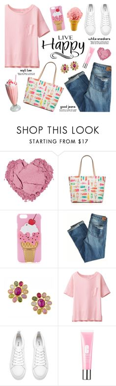 """""""Live Happy in White Sneakers"""" by lgb321 ❤ liked on Polyvore featuring Kate Spade, Iphoria, American Eagle Outfitters, Marco Bicego, Uniqlo and Clinique"""