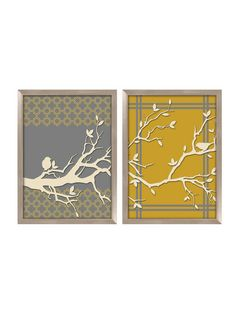 Tree Branch diptych silkscreened art on glass by PTM Images at Gilt