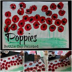 Bottle cap painted field of poppies art - to observe the symbol of the red poppy to help kids learn about and commemorate Anzac Day, Remembrance Day or Veterans' Day.