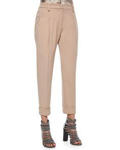 Slouch Cuffed Pants, Toffee, Women's, Size: 50 IT (14 US) - Brunello Cucinelli