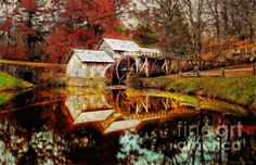 #Autumn at Mabry Mill by Lianne Schneider - #digital-painting of one of the most iconic mills in America. On sale 25% off my markup till Dec. !5 with checkout code KPEVZJ at http://fineartamerica.com/featured/autumn-at-mabry-mill-lianne-schneider.html