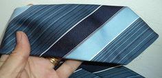 Pierre Cardin Vtg SKINNY poly 60s blue woven POWER STRIPE men neck tie RETRO MOd