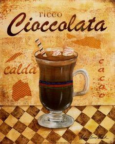 Valorie Evers wenk - Ricco Cioccolata Size ~ Fine-Art Print - Vintage Coffee Art Prints and Posters - Vintage Advertisements Pictures Vintage Diy, Decoupage Vintage, Vintage Labels, Vintage Cards, Vintage Posters, Vintage Prints, Café Chocolate, Cafe Art, Tea Art