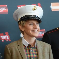 When she looked super-happy wearing this hat. Ellen Degeneress, Ellen And Portia, Toys For Tots, Super Happy, Celebs, Celebrities, My Happy Place, Our Love, Make Me Smile