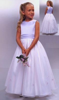 A-line Jewel Natural Waist Long Satin White Flower Girl Dresses