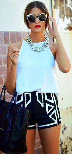 #spring #summer #style #inspiration | White Tank + Graphic Short