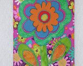 FLOWER - Whimsical - Fabric Postcard Art Quilt Fabric Appliqued  4 x 6 art quilt