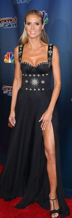 Who made  Heidi Klum's studded black gown?