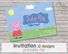 Invitaciones personalizables de Peppa Pig imprimibles de DulsStuff en Etsy