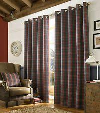 Denim Tartan Check Eyelet Ring Top Fully Lined Ready Made Curtains