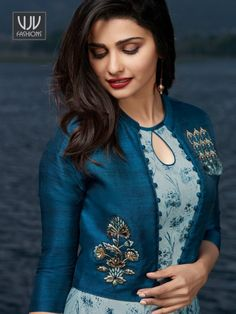 Unique Blue Color Satin And Georgette Printed Kurti New Kurti Designs, Simple Kurti Designs, Churidar Designs, Fancy Blouse Designs, Kurta Designs Women, Kurti Designs Party Wear, Printed Kurti Designs, Kurti Sleeves Design, Sleeves Designs For Dresses