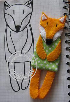 Fox- bookmark Animal Sewing Patterns, Doll Patterns, Mini Christmas Ornaments, Felt Bookmark, Yarn Thread, Felt Toys, Baby Sewing, Softies, Felt Crafts