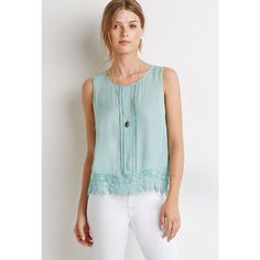 Love 21 Crochet-Trimmed Tank ($20) ❤ liked on Polyvore featuring tops, long summer tops, woven top, embroidered top, embellished tank tops and crochet trim tank top