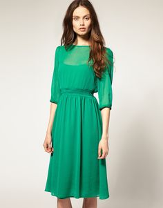 ASOS Midi Dress in SOFT CHIFFON- might be too sexy for church, but just right for a date.  Depends if it's your long-time boyfriend, your husband or if its your first date with a new guy. I personally love it