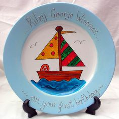 Raise the mast for a 1st birthday! Personalised Sailboat 1st Birthday - Gift Platewww.smashingglassdesigns.co.uk
