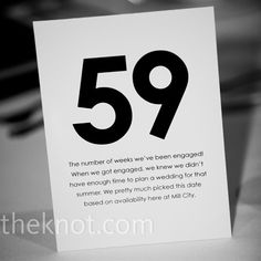"""Instead of traditional table number, use numbers that mean something. Such as """"how many weeks you have been engaged"""", """"age when we met"""", """"how many times you say 'I love you' each day on average"""", and """"the day we got engaged"""""""