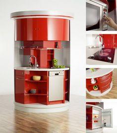 A unique kitchen idea. Major space saver and excellent design!