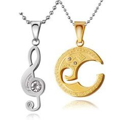 Gullei Trustmart : Personalized Engravable Music Notes Couple Necklace - Material: Titanium Stainless Steel Men's Pendant: x Woman's Pend. Necklace Set, Washer Necklace, Pendant Necklace, Music Jewelry, Diy Jewelry, Couple Necklaces, Friendship Necklaces, Music Notes, Couple Gifts