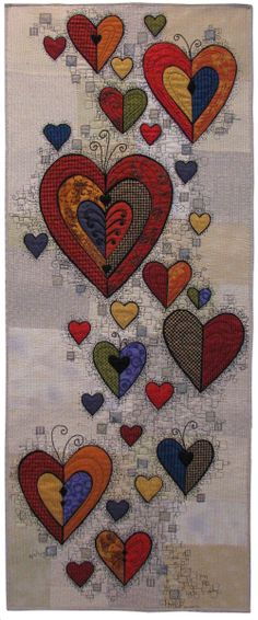 Beautiful heart art wall quilt.