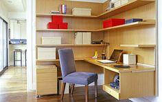 Modern maple office w/ great shelves