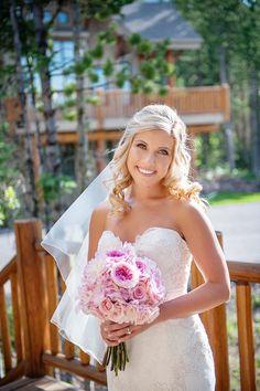 Blonde Medium-Length Bridal Hairstyle Photography: Lauren Brown Photography Read More: http://www.insideweddings.com/weddings/intimate-destination-wedding-at-mountain-lodge-in-big-sky-montana/711/