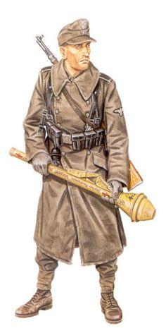 Soldado de Infantería, 30ª División de Infantería de la Waffen SS, frente del Rin, invierno de 1944.