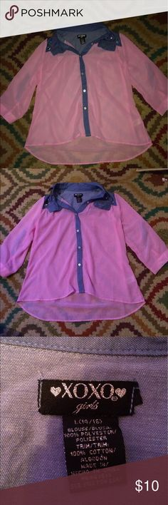 Blouse Pink button down blouse girls size large XOXO Shirts & Tops Blouses