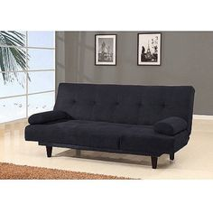 Barcelona Convertible Futon Sofa Bed and Lounger with Pillows, Multiple Colors, Black
