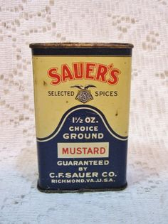 Vtg Sauers Ground Mustard Spice Tin ~ Antique Advertising C F Sauer Co ~ a Vintage Touch  $8.00