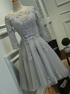 Cocktail Party Dress Ball Gown Scoop Knee-length Lace / Tulle with Lace / Sash / Ribbon – USD $ 225.00