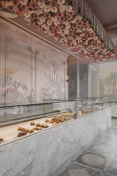 VOILA Patisserie on Behance Cafe Shop Design, Coffee Shop Interior Design, Store Design, Patisserie Design, Bakery Design, Bakery Interior, Restaurant Interior Design, Flower Shop Design, Store Interiors