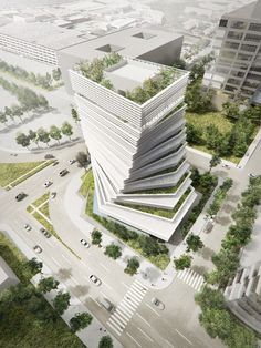 "Japanese architect Kengo Kuma to ""fuse nature and architecture"" with twisted Rolex tower underway in Dallas Office Building Architecture, Modern Architecture Design, Green Architecture, Facade Design, Futuristic Architecture, Amazing Architecture, Landscape Architecture, Architecture Photo, Modern Buildings"