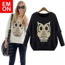Primavera 2014 Nova marca de moda vintage das mulheres de malha O- pescoço solto Tamanho Large Golden Owl Paillette Knit Pullover Top Sweater(China (Mainland))