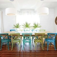 Get Creative with Chair Color - 40 Ways to Decorate with Turquoise - Coastal Living