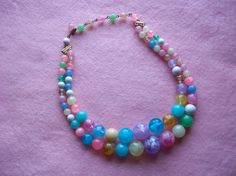 Double Strand Multicolored Choker Necklace by LadyLindaLou on Etsy, $6.00