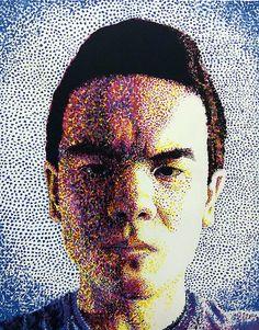 Custom Pointillist Portrait - Acrylic Dot Painting